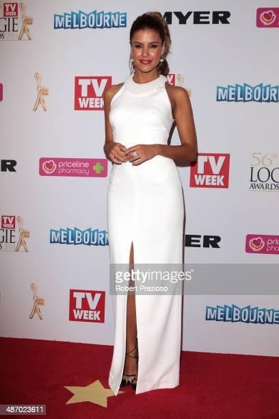 Lauren Phillips arrives at the 2014 Logie Awards at Crown Palladium on April 27 2014 in Melbourne Australia