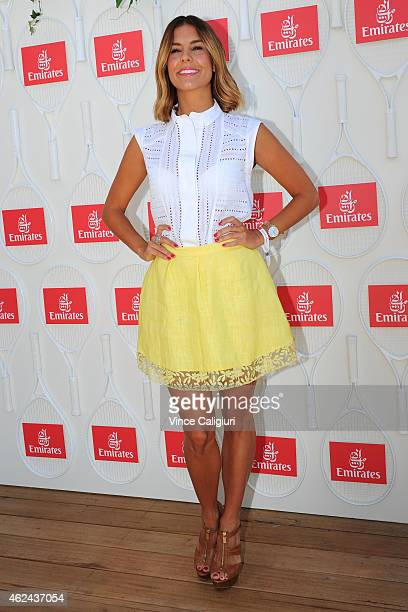 Lauren Phillips arrives at the Emirates Ladies Lunch at Melbourne Park on January 29, 2015 in Melbourne, Australia.