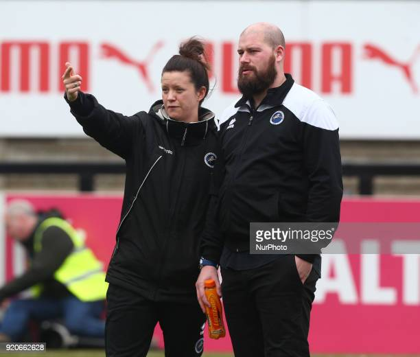 Lauren Phillips Assistant Manager of Millwall Lionesses and Lee Burch manager of Millwall Lionesses LFC during The FA Women's Cup Fifth Round match...