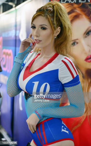 Lauren Phillips attends the EXXXOTICA Expo 2018 at Miami Airport Convention Center on July 21 2018 in Miami Florida
