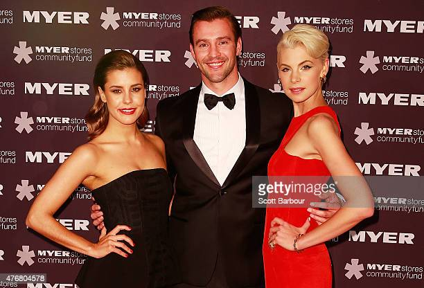 Lauren Phillips Kris Smith and Kate Peck arrive at the annual Precious Metal Ball to benefit Redkite at the Palladium at Crown Melbourne on June 12...