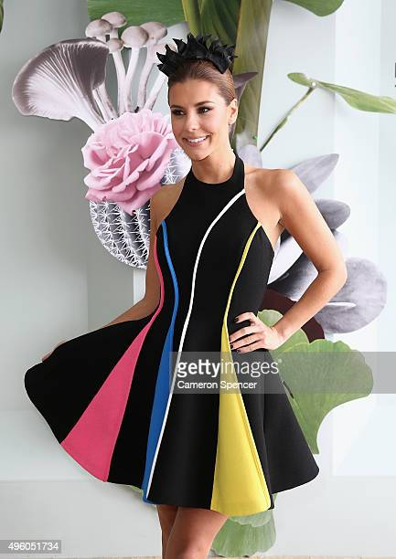 Lauren Phillips poses at the Myer Marquee on Stakes Day at Flemington Racecourse on November 7 2015 in Melbourne Australia