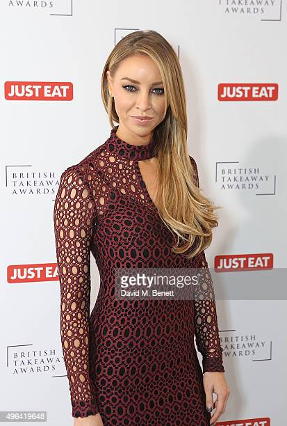 Lauren Pope arrives at the British Takeaway Awards in association with JUST EAT at The Savoy Hotel on November 9 2015 in London England