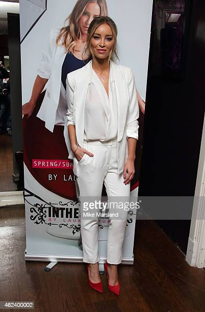 Lauren Pope attends a photocall to launch her fashion range at Soho Sanctum Hotel on January 28 2015 in London England