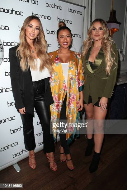 Lauren Pope Kaz Crossley and Georgia Kousoulou attend the Boohoo X Kendall Knight launch dinner at Langham Hotel on October 9 2018 in London England
