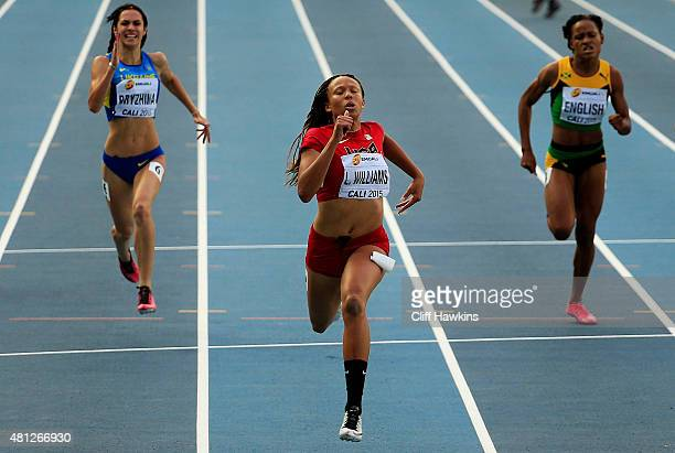 Lauren Rain Williams of the USA in action during the Girls 200 Meters Semi Final on day four of the IAAF World Youth Championships Cali 2015 on July...