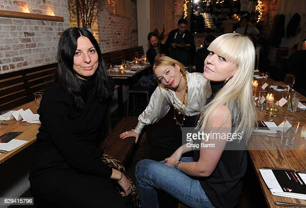 Lauren Rayner Carrie Imberman and Fiona Byrne attend a holiday dinner in support of the UN Women's Global Movement For Gender Equality 'HeForShe'...