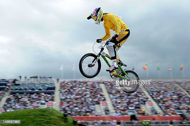 Lauren Reynolds of Australia competes during the Men's BMX Cycling on Day 12 of the London 2012 Olympic Games at BMX Track on August 8 2012 in London...