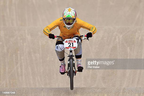 Lauren Reynolds of Australia competes during the Women's BMX Cycling on Day 12 of the London 2012 Olympic Games at BMX Track on August 8, 2012 in...