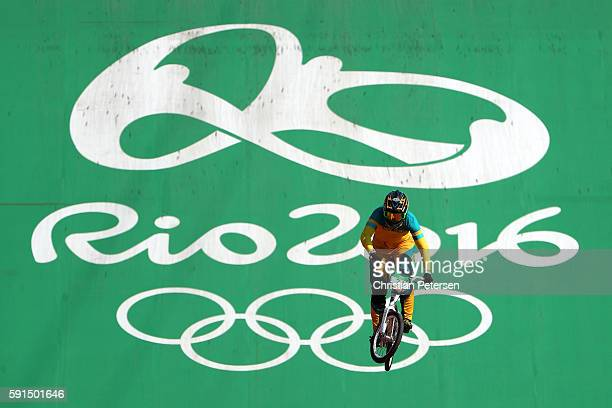 Lauren Reynolds of Australia competes in the Cycling - BMX Women's Seeding Run on day 12 of the Rio 2016 Olympic Games at The Olympic BMX Centre on...