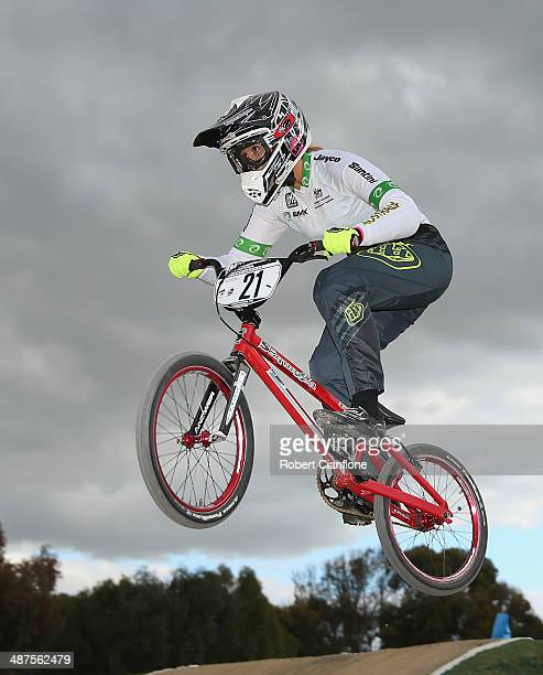 Lauren Reynolds of Australia jumps in the Women's Elite time trial during the Australian BMX Championships on May 1, 2014 in Shepparton, Australia.