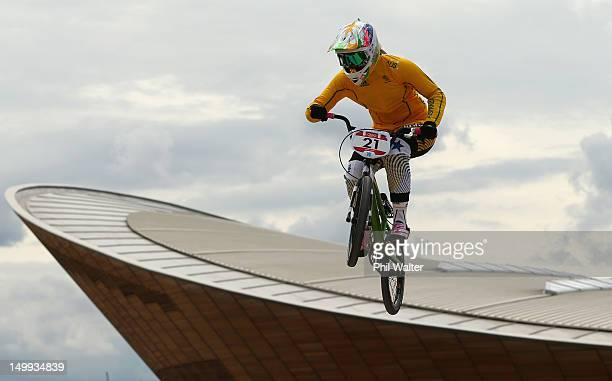 Lauren Reynolds of Australia trains on the BMX track in Olympic Park on Day 11 of the London 2012 Olympic Games on August 7, 2012 in London, England.