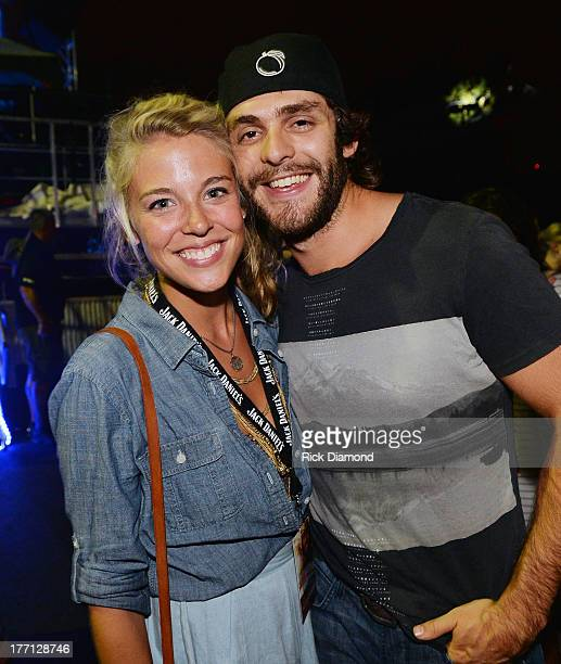 Lauren Rhett and Husband Singer/Songwriter Thomas Rhett backstage Jake Owen during Jake Owen summer block and party at BMI celebrating the number 1...