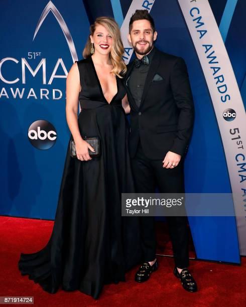 Lauren Rhett and Thomas Rhett attend the 51st annual CMA Awards at the Bridgestone Arena on November 8 2017 in Nashville Tennessee