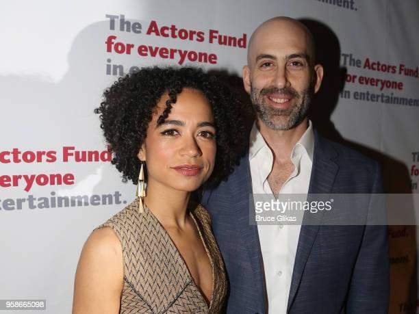 Lauren Ridloff and husband Douglas Ridloff pose at The Actors Fund of America's Annual Gala Honoring Warren Beatty Uma Thurman Chita Rivera and Kenny...