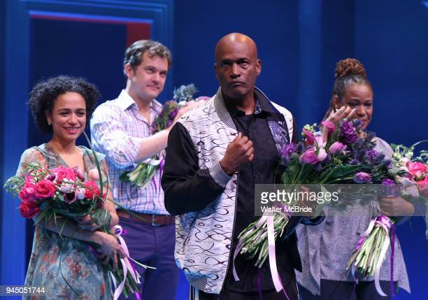 Lauren Ridloff Joshua Jackson Kecia Lewis and Kenny Leon during the Broadway opening night performance Curtain Call for 'Children of a Lesser God' at...