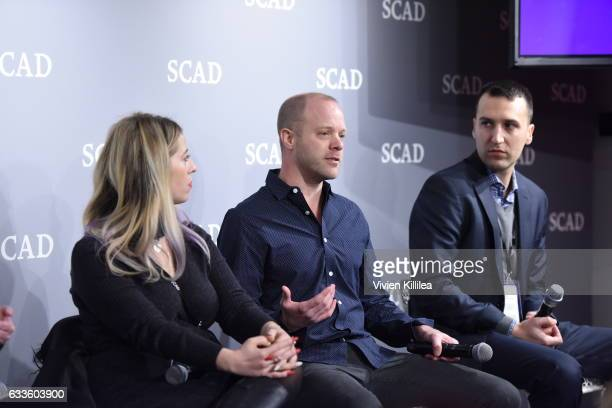"""Lauren Rosenberg Matt Sprouse and Ryan Wackerman speak on stage during QA for """"Solving the Mystery"""" during Day One of the aTVfest 2017 presented by..."""
