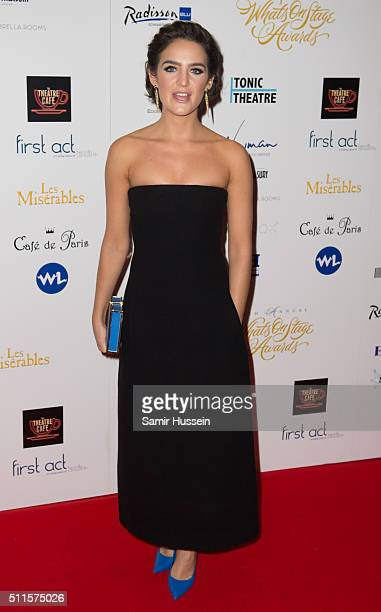 Lauren Samuels arrives for the WhatsOnStage Awards at Prince Of Wales Theatre on February 21 2016 in London England
