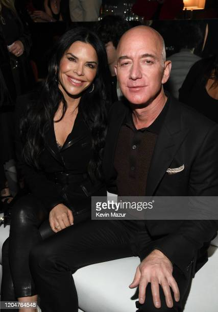 Lauren Sanchez and Amazon CEO Jeff Bezos attend the Tom Ford AW20 Show at Milk Studios on February 07 2020 in Hollywood California