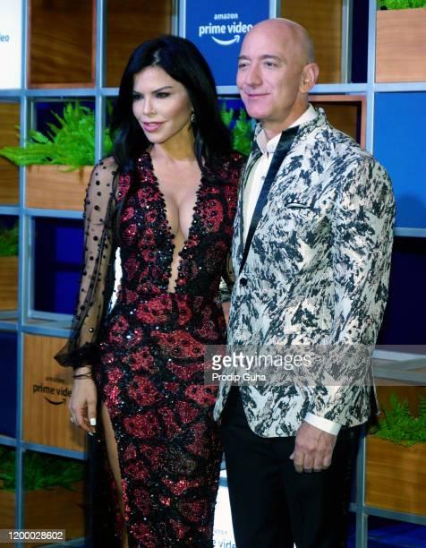 Lauren Sanchez and Jeff Bezos attend the Amazon Prime Video celebration on January 16 2020 in Mumbai India