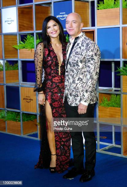 Lauren Sanchez and Jeff Bezos attend the Amazon Prime Video celebration on January 16 2020 in Mumbai India