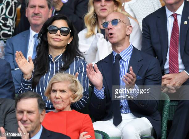 Lauren Sanchez and Jeff Bezos on Centre Court during Men's Finals Day of the Wimbledon Tennis Championships at All England Lawn Tennis and Croquet...