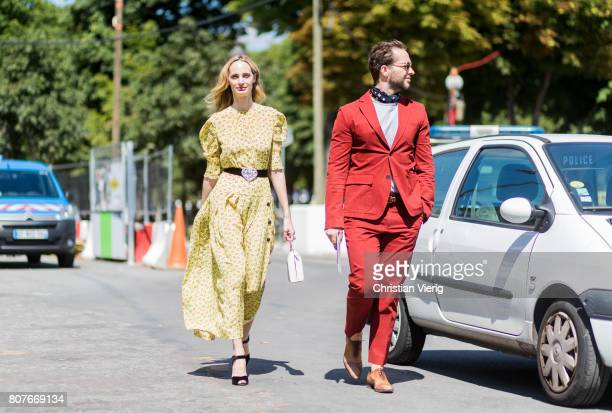 Lauren Santo Domingo and Derek Blasberg outside Chanel during Paris Fashion Week Haute Couture Fall/Winter 20172018 Day Three on July 4 2017 in Paris...