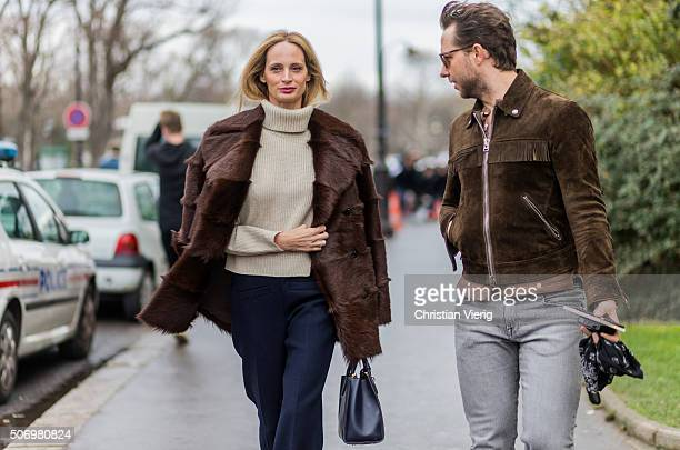 Lauren Santo Domingo and Derek Blasberg outside Chanel during the Paris Fashion Week Haute Couture Spring/Summer 2016 on January 26 2016 in Paris...