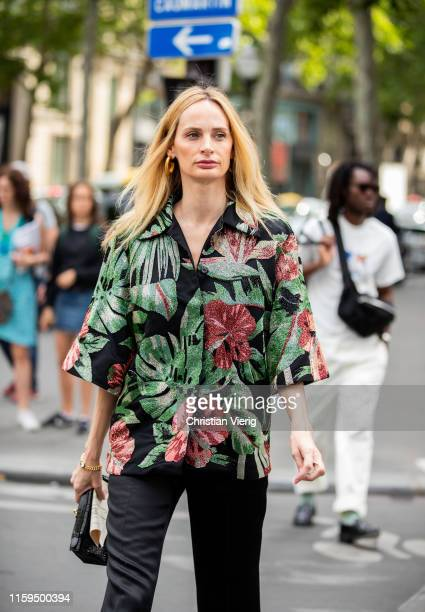 Lauren Santo Domingo is seen wearing button shirt with floral print outside Schiaparelli during Paris Fashion Week Haute Couture Fall/Winter...