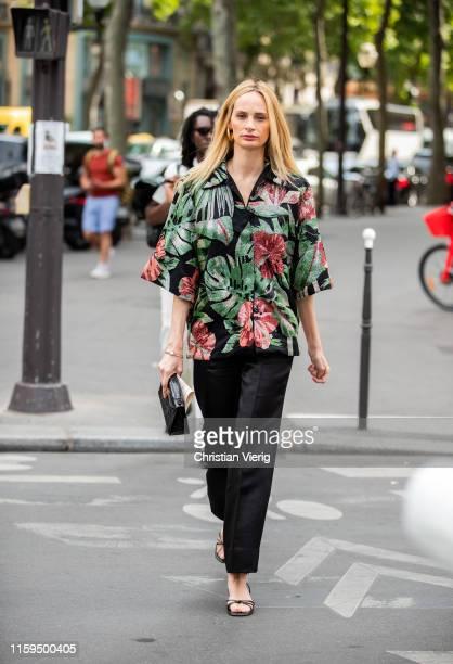 Lauren Santo Domingo is seen wearing button shirt with floral print outside Schiaparelli during Paris Fashion Week - Haute Couture Fall/Winter...