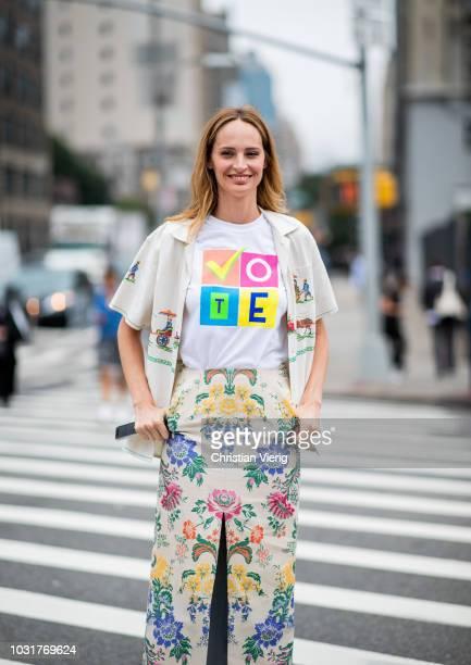 Lauren Santo Domingo wearing tshirt with Vote print is seen outside Oscar de la Renta during New York Fashion Week Spring/Summer 2019 on September 11...