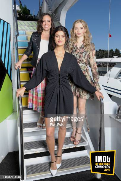 Lauren Schmidt Anya Chalotra and Freya Allan attend the #IMDboat at San Diego ComicCon 2019 Day Three at the IMDb Yacht on July 20 2019 in San Diego...