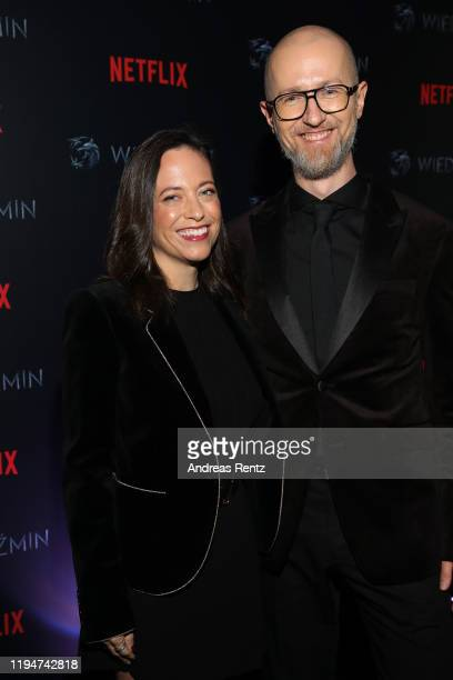 Lauren Schmidt Hissrich and Tomek Baginski attend the premiere of the Netflix series The Witcher on December 18 2019 in Warsaw Poland