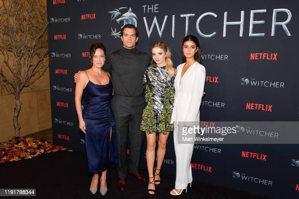 Lauren Schmidt Hissrich Henry Cavill Freya Allan and Anya Chalotra attend the photocall for Netflix's The Witcher season 1 at the Egyptian Theatre on...