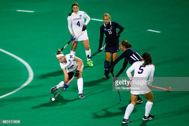 Lauren Schweppe of Middlebury College attempts a pass during the Division III Women's Field Hockey Championship held at Trager Stadium on November 19...