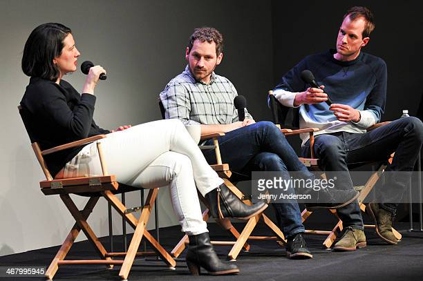 Lauren Sherman of Fashionistacom Justin Stefano and Philippe von Borries of Refinery29 speak during Fashion in Conversation at Apple Store Soho on...