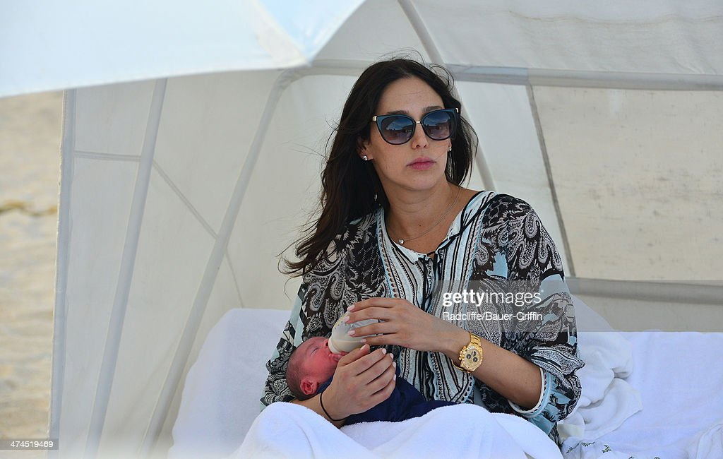 Lauren Silverman is seen at the beach with her newborn son Eric Cowell on February 23, 2014 in Miami, Florida.