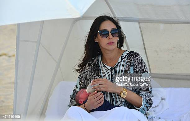 Lauren Silverman is seen at the beach with her newborn son Eric Cowell on February 23 2014 in Miami Florida