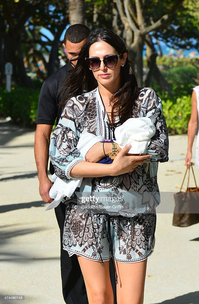 Lauren Silverman is seen with her 9 day old newborn baby, Eric Cowell, at the beach on February 23, 2014 in Miami, Florida.