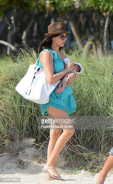 Lauren Silverman is seen with her newborn son Eric Cowell while at the beach on February 24 2014 in Miami Florida