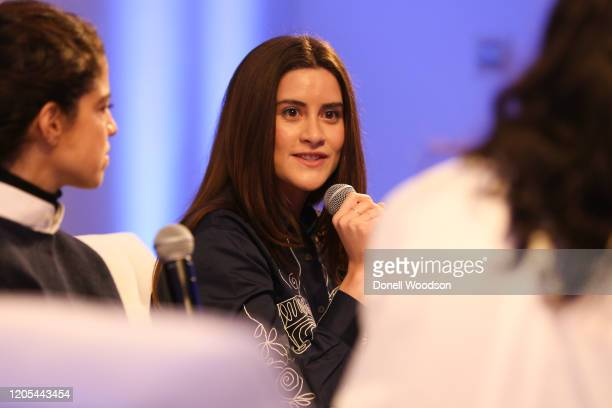Lauren Singer speaks to Marjon Carlos on a panel at the Evian Virgil Abloh Collaboration party at Milk Studios on February 10 2020 in New York City