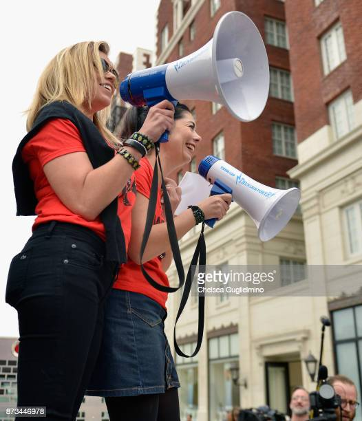 Lauren Sivan and Tess Rafferty speak at the Take Back The Workplace March on November 12 2017 in Hollywood California