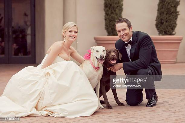 Lauren Skaar and Michael Vartan pose with their dogs Millie and Lucy after the ceremony at The Resort at Pelican Hill April 2 2011 in Newport Beach...