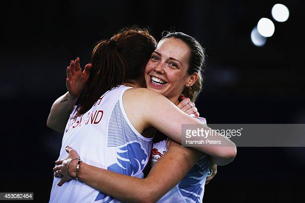 Lauren Smith and Gabrielle Adcock of England of England celebrate after beating Yin Loo Lim and Lai Pei Jing of Malaysia in the Women's Doubles...
