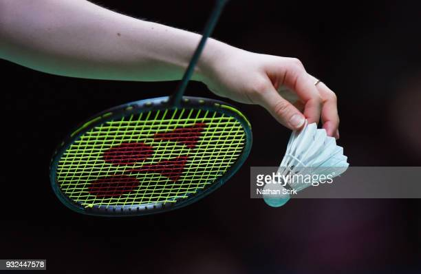 Lauren Smith of England prepares to serve against Prave Jordan and Debby Susanto of Indonesia on day two of the Yonex All England Open Badminton...