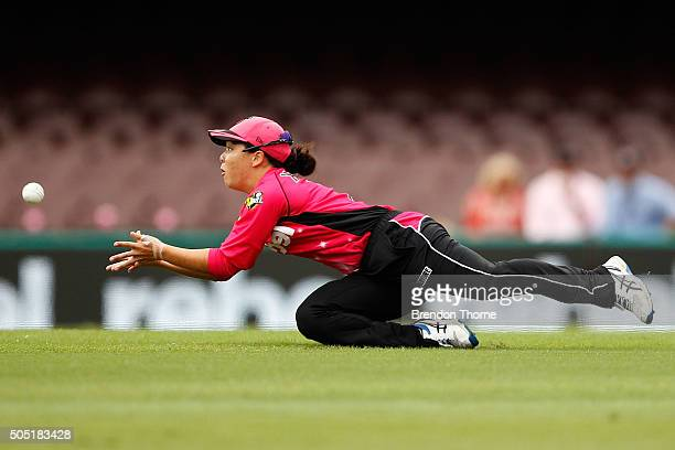 Lauren Smith of the Sixers catches out Rachael Haynes of the Thunder during the Women's Big Bash League match between the Sydney Sixers and the...