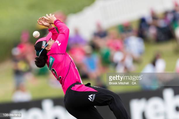 Lauren Smith of the Sixers drops a catch during the Women's Big Bash League Semi Final against the Melbourne Renegades on January 19 2019 in Sydney...