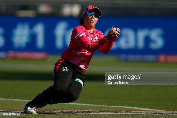 Lauren Smith of the the Sixers takes a catch during the Women's Big Bash League match between the Melbourne Renegades and the Sydney Sixers at on...