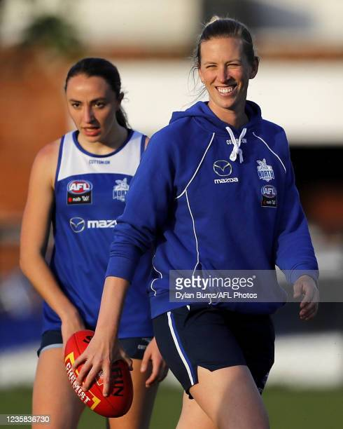 Lauren Spark, Player Development Coordinator of the Kangaroos looks on during the North Melbourne training session at Arden Street Oval on October...