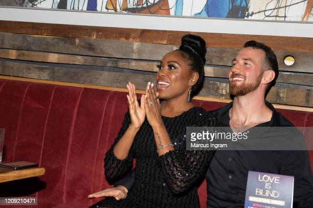 Lauren Speed and Cameron Hamilton attend the Netflix's Love is Blind VIP viewing party at City Winery on February 27 2020 in Atlanta Georgia